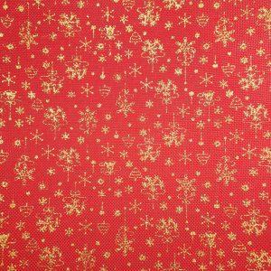 Toile de jute rouge aux flocons dorés thème Noël