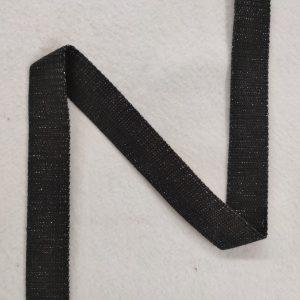 Sangle coton 30 mm noire pailletée argent