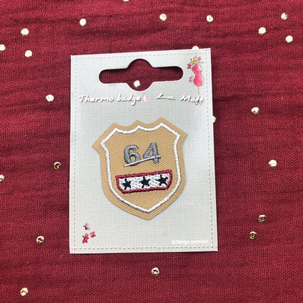 badge, thermocollant, écusson, beige, 64