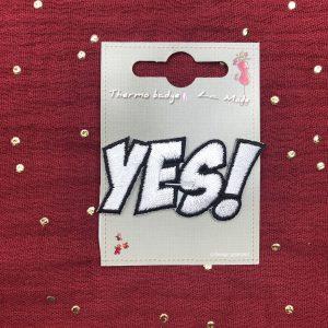 Badge thermocollant «Yes!» blanc