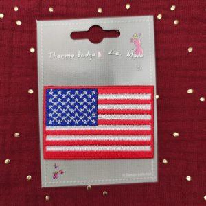 Badge thermocollant drapeau américain