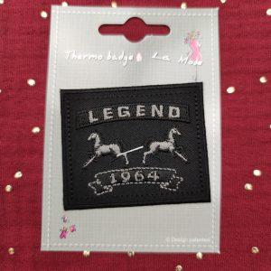 Badge thermocollant «Legend 1964» noir