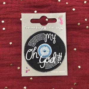 Badge thermocollant «oh my god» vinyle noir