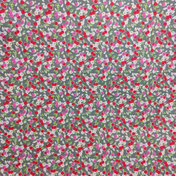 coton enduit, toile enduite, baies, rouge, rose, gris, vert