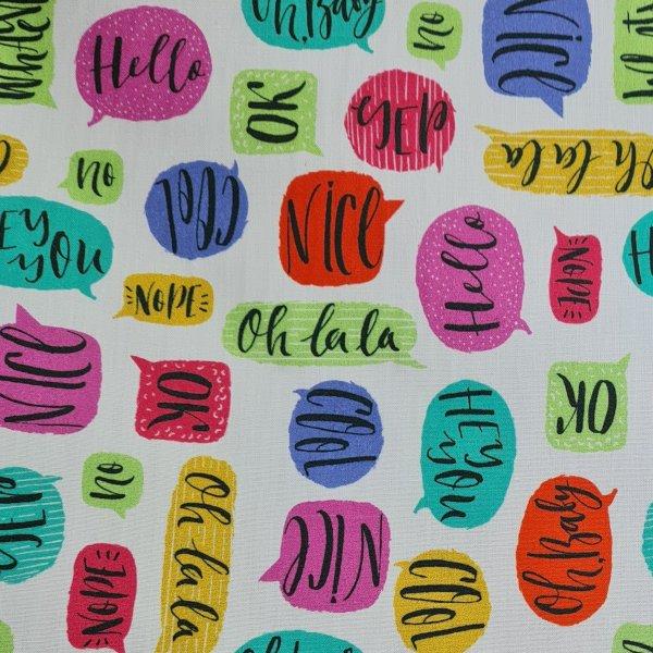toile enduite, coton enduit, bulle messagères, blanc, bleu, rouge, rose, jaune, vert