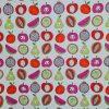 toile enduite, coton enduit, fruits, pommes, poires, papayes, grenades, pastéques, violet, rouge, vert