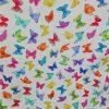 toile enduite, coton enduit, papillons, bleu, orange, vert, jaune, violet