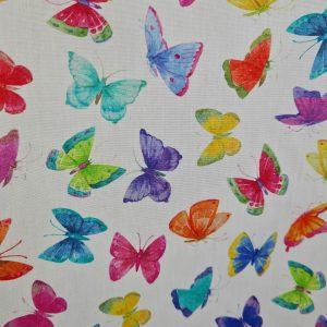 Coton enduit papillons colorés