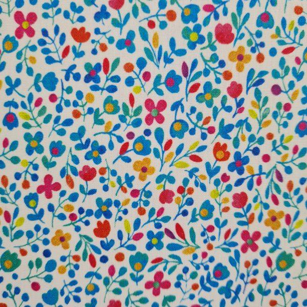 toile enduite, coton enduit, petites fleurs, bleu, jaune, rouge