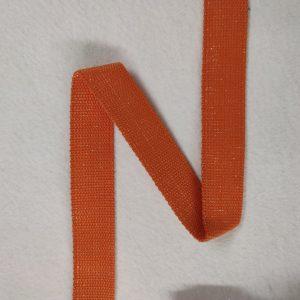 Sangle coton 30 mm orange pailletée argent