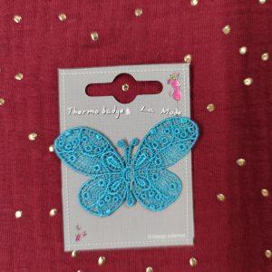 Badge écusson thermocollant papillons dentelle turquoise