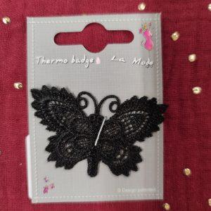 Badge écusson thermocollant papillons dentelle noire