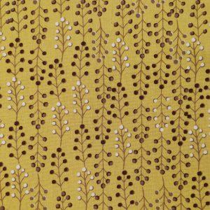 Popeline jaune motifs branches avec petits pois