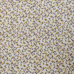Popeline de coton bio feuilles jaunes et marrons