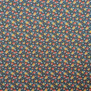 Coton bio fleurs des champs jaunes et rouges fond marine
