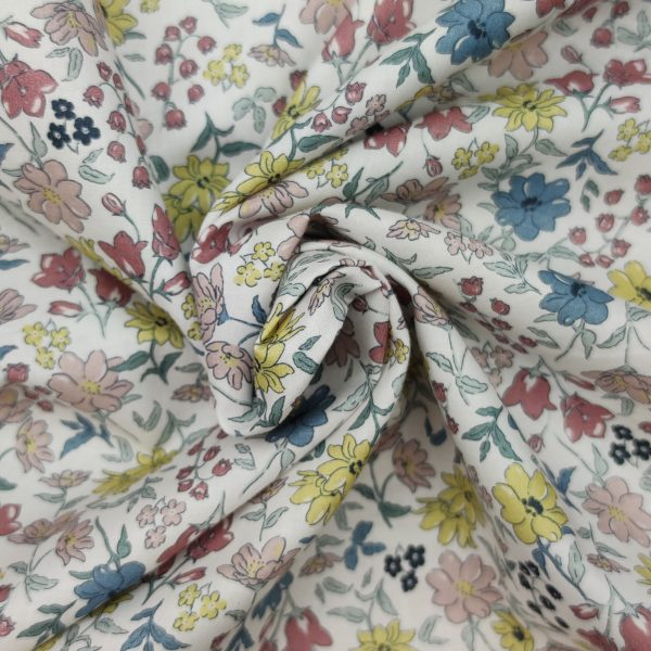 coton, mercerisé, fleurs, imitation liberty, doux, bleu, jaune pâle, rose pâle