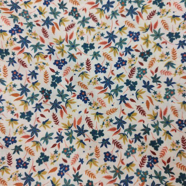 coton de petites fleurs et feuilles bleu vert orange
