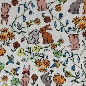Coton digital flower avec lapins
