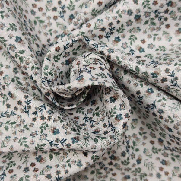 coton, mercerisé, petites fleurs,imitation liberty, doux, vert