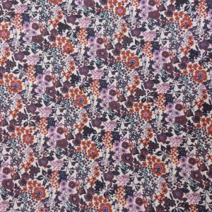 Coton digital flower mauve et rouille