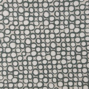 Popeline de coton bio gros pois verts et blancs