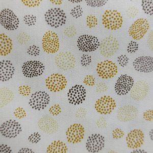 Coton bio mini pois jaune moutarde/gris