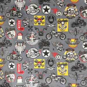 Coton gris imprimé motard