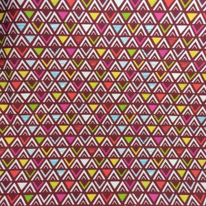 Coton imprimé triangles framboise