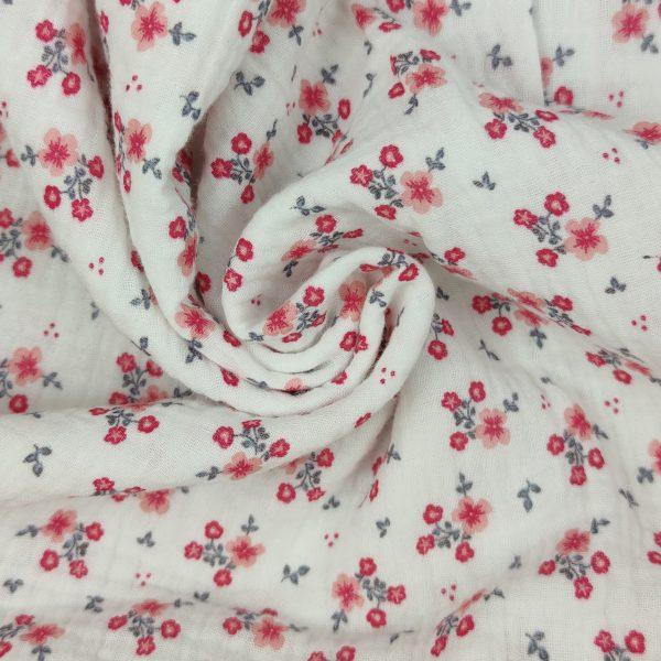 double gaze, coton, gaze de coton, fleuris, blanc