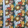 coton, jungle, animaux, éléphant, lions, ours, tigre, vert, bleu, orange, marron, brique