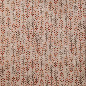 Popeline rose pâle motifs branches avec petits pois