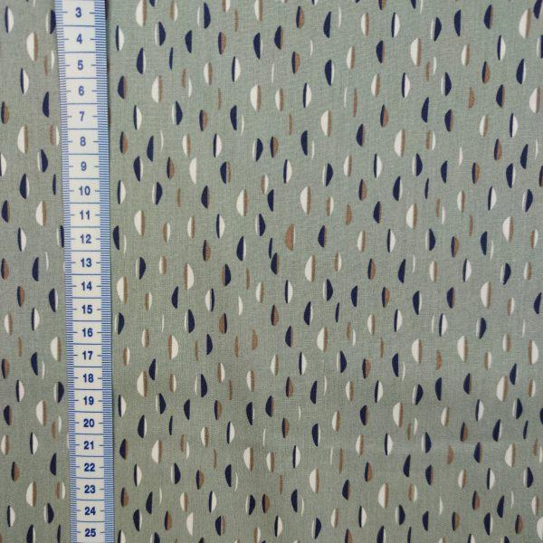 coton imprimé de demi-cercles bleu marine et blancs sur fonc vert cendre