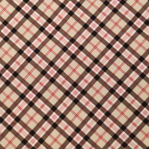 Coton motif écossais marron et rouge