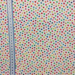 Coton blanc étoilé multicolore