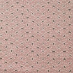 Coton rose poudré imprimé éventails