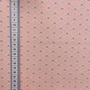 Coton rose pâle imprimé éventails