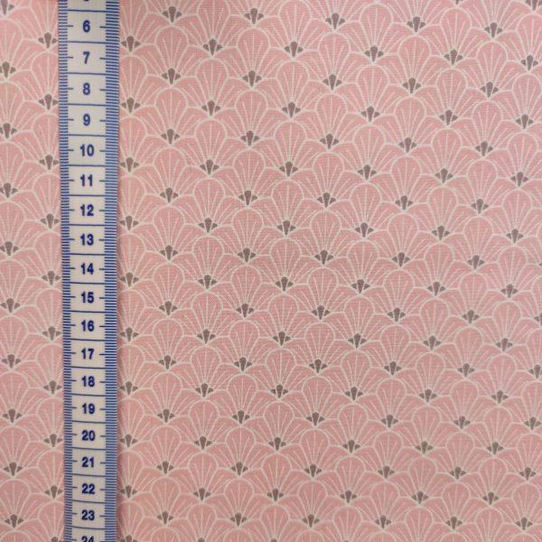 coton rose pâle avec éventails japonisants