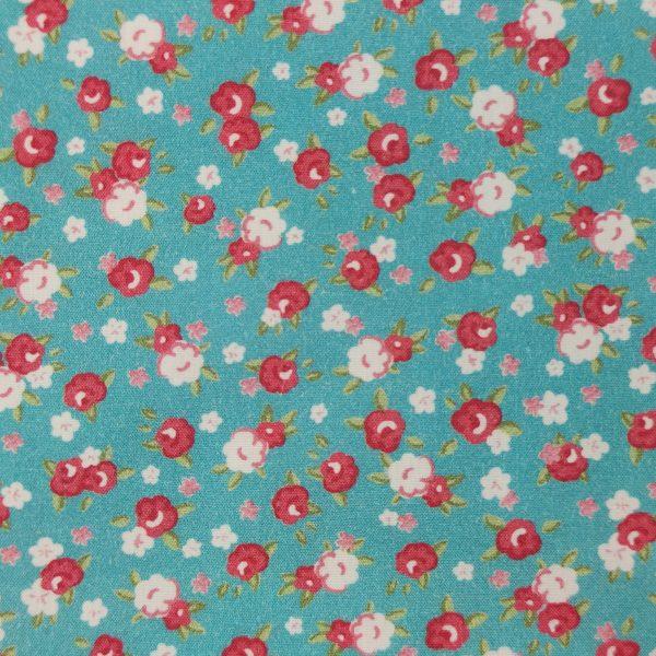 coton, petites fleurs, fleuris, rouge, bleu turquoise, blanc