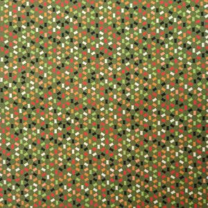 Coton imprimé petits rectangles sur fond kaki