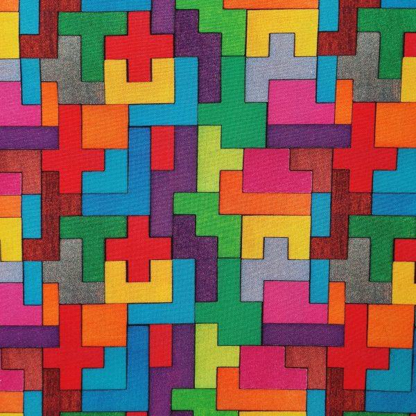 coton, jeu, multicolor, formes géometriques, bleu, rose, violet, vert, jaune