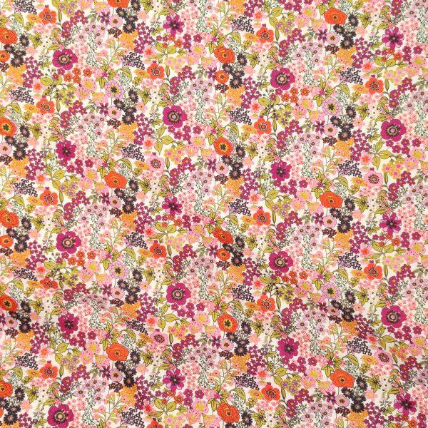 coton, mercerisé, fleurs, rose, blanc, violet, noir, fuchsia