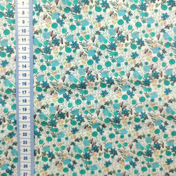 coton digital fleurs bleu turquoise