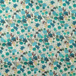 Coton bleu turquoise digital flowers