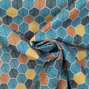 Coton imprimé losanges bleu paon