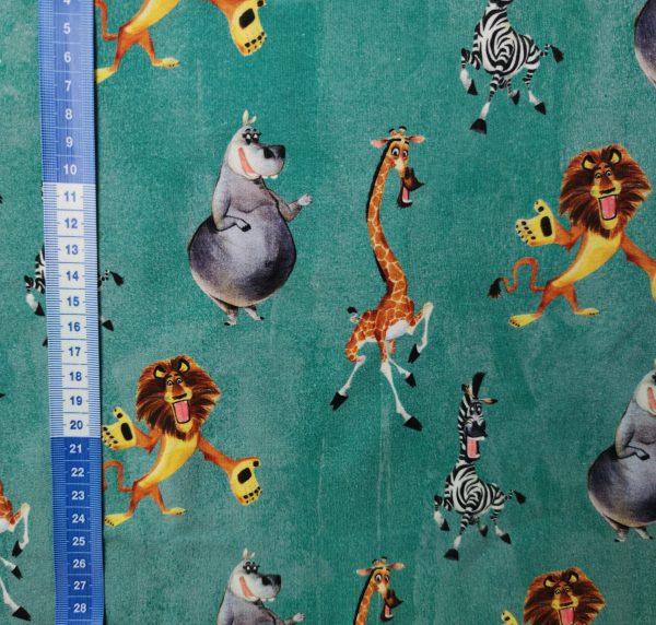 jersey, sweat, madagascar, hippopotame, girafe, zèbre, lion, vert canard, délavé, blanc, gris, noir, orange
