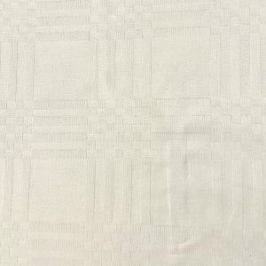 Coton damassé mozaïque blanc