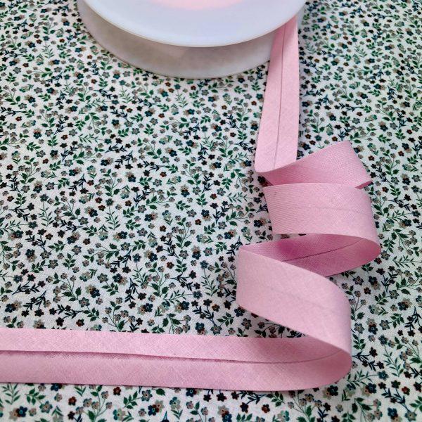 biais, rose poudré, 20 mm