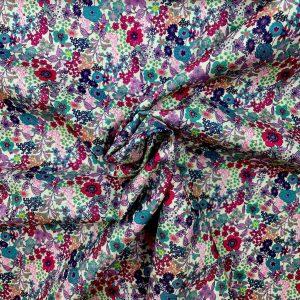 Coton digital flower violet et fuchsia