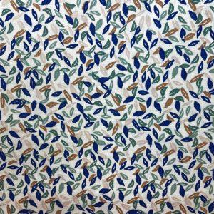 Popeline de coton bio feuilles bleues et vertes