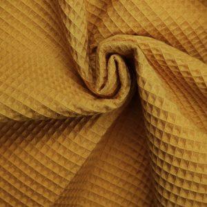 Coton uni nid d'abeille jaune